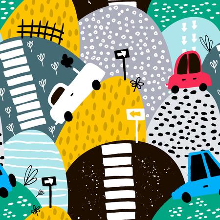 手描きかわいい車とヒルズのシームレスなパターン。漫画の車、道路標識、横断歩道のベクトル図です。子供の生地、織物、保育園の壁紙に最適