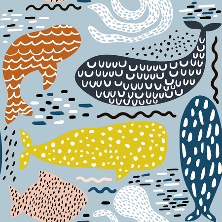 Seamless pattern with sea animal fur-seal,whale, octopus, fish. Childish texture for fabric, textile. Vector background