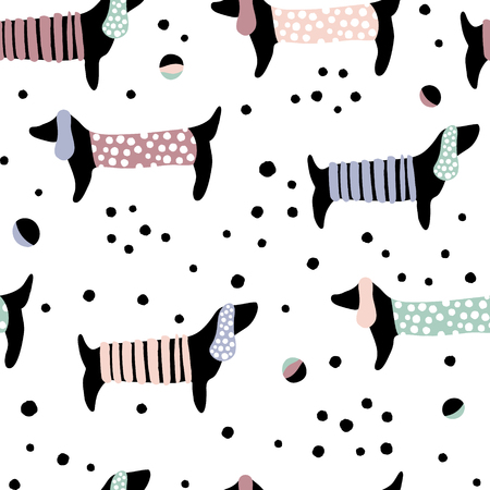 Seamless pattern with dachshunds and hand drawn elements. Childish texture. Great for fabric, textile Vector Illustration