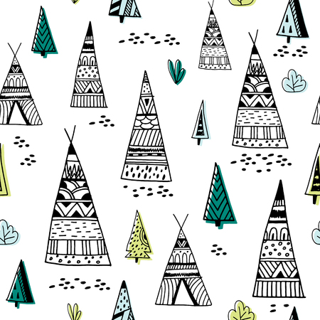 Tribal indian wigwam pattern. Doodle childish minimalist background.Vector Illustration Stock Vector - 87952279