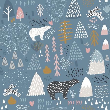 Nahtloses Muster mit Häschen, Eisbären, Waldelementen und Hand gezeichneten Formen. Kindische Textur Ideal für Gewebe, Textil-Vektor-Illustration
