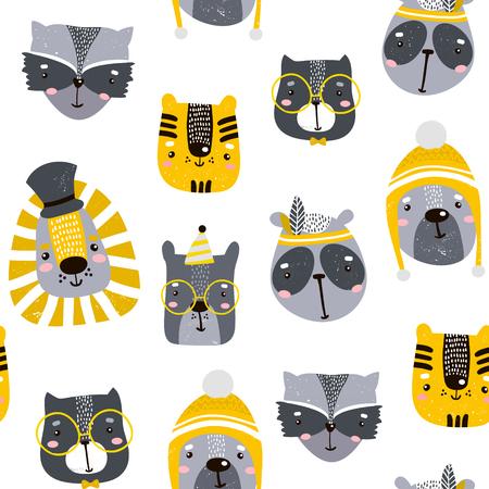 Naadloos kinderachtig patroon met schattige dierengezichten. Creatieve kwekerij achtergrond. Perfect voor kinderen ontwerp, stof, inwikkeling, behang, textiel, kleding