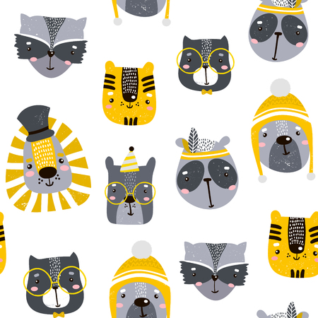Seamless childish pattern with cute animal faces. Creative nursery background. Perfect for kids design, fabric, wrapping, wallpaper, textile, apparel