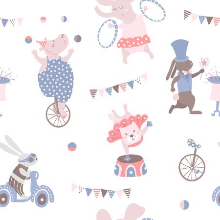 Seamless pattern with animal artists. Circus vector childish background. Reklamní fotografie - 87952287