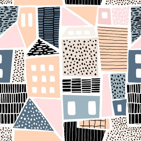 Abstract naadloos patroon met huizen met hand getrokken texturen en vormen. Perfect voor textiel, behang. Vector illustratie