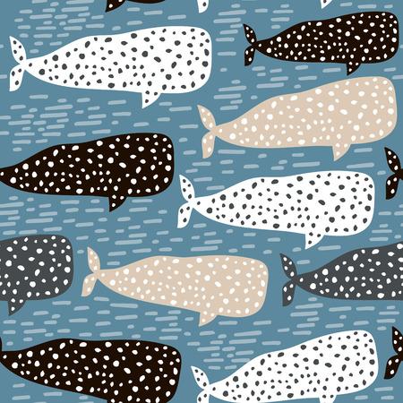 Wzór z wielorybem. Dziecinna tekstura do tkanin, tekstyliów. Tło wektor