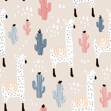 Seamless pattern with lamma, cactus and hand drawn elements. Childish texture. Great for fabric, textile Vector Illustration  イラスト・ベクター素材