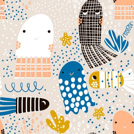 Modello senza cuciture con meduse di animali marini, pesci. Struttura infantile sottomarina per tessuto, tessile. Sfondo vettoriale Archivio Fotografico - 87952490