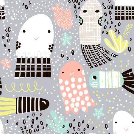 シームレス パターン海動物ゼリー魚と魚。海底の幼稚なテクスチャ、生地繊維。ベクトルの背景  イラスト・ベクター素材