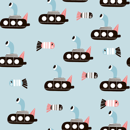 Seamless pattern with cartoon submarine and fishes . Childish texture for fabric, textile. Vector background