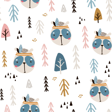 Seamless pattern with cute panda indian face and tree. Cartoon panda indian.Vector illustration. Perfect for kids fabric,textile,nursery wallpaper