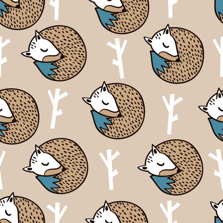 Naadloos bospatroon met vos, tak en bladeren. Minimalistische textuur in Skandinavische stijl. Vector achtergrond Stock Illustratie