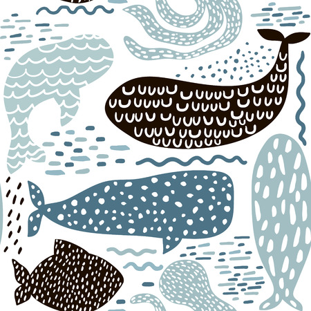 Seamless pattern with sea animal fur-seal,whale, octopus, fish. Childish texture for fabric, textile in pastel colors. Vector background
