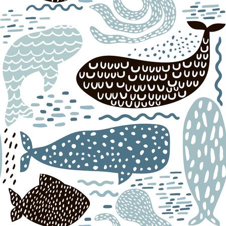 Patrón sin fisuras con mar animal piel de foca, ballena, pulpo, pescado. Textura infantil para tela, textil en colores pastel. Fondo de vector Ilustración de vector