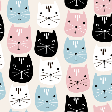 Cute cats faces seamless pattern. Vector childish background  イラスト・ベクター素材