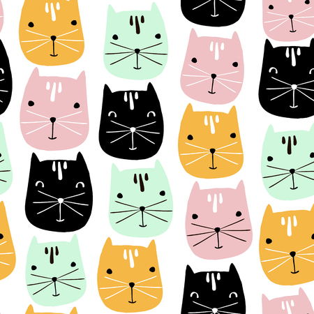 Cute cats faces seamless pattern. Vector childish background Stock Illustratie