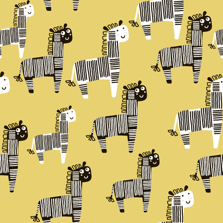 Creative seamless pattern with zebra. Childish texture for fabric, textile. Vector background 矢量图像