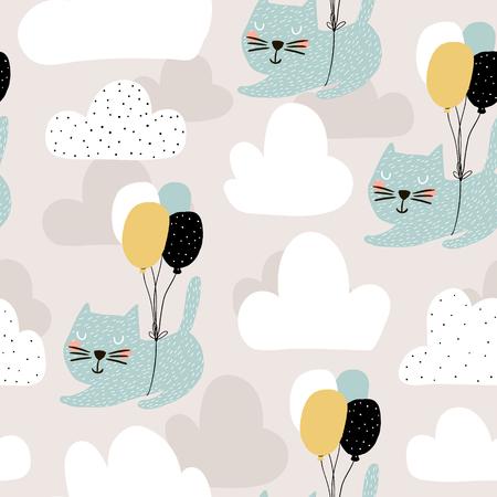 Nahtloses Kindisches Muster Mit Den Netten Katzen, Die Mit Ballon ...