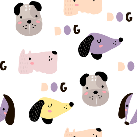 Seamless childish pattern with dog animal faces. Creative nursery background. Perfect for kids design, fabric, wrapping, wallpaper, textile, apparel