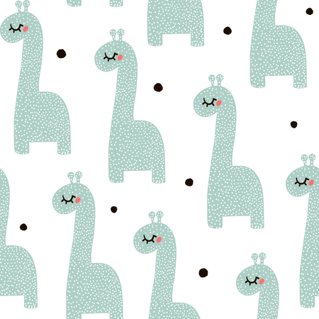 Seamless pattern with cute baby giraffe. Childish texture in minimalistic style. Great for fabric, textile Vector Illustration
