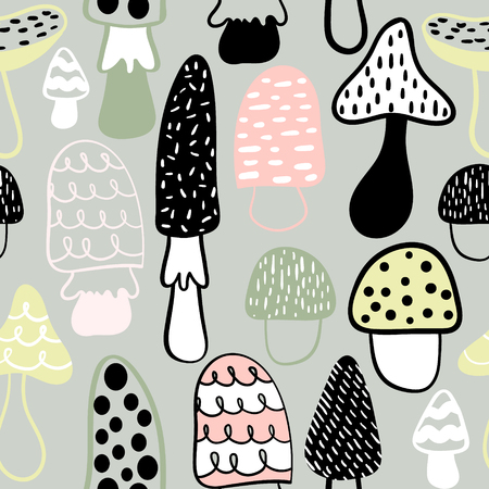 Seamless pattern with hand drawn mushrooms. Childish texture in minimalistic style. Great for fabric, textile Vector Illustration Çizim