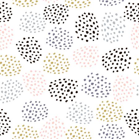Modèle vectorielle continue avec des points dessinés à l'encre. Arrière-plan artisanal minimaliste créatif. Idéal pour le tissu, le papier d'emballage, le textile