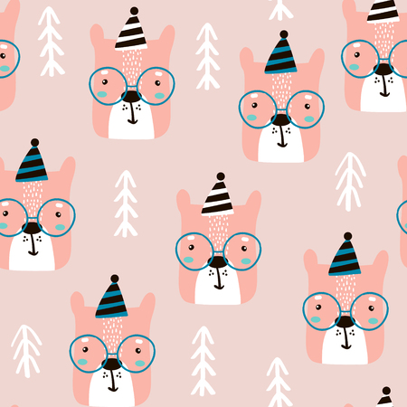 Seamless childish pattern with cute bear faces and trees. Creative nursery background. Perfect for kids design, fabric, wrapping, wallpaper, textile, apparel