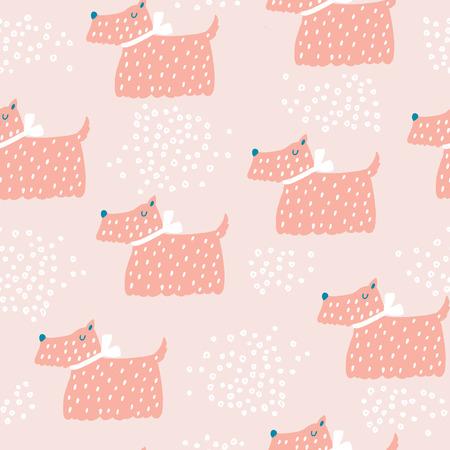 かわいい犬とのシームレスな幼稚なパターン。創造的な保育所の背景。キッズ デザイン、ファブリック、包装、壁紙、テキスタイル、アパレルに最