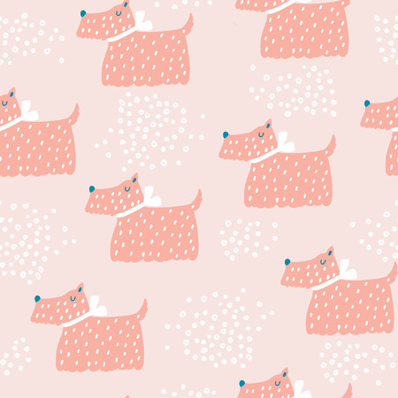 Seamless childish pattern with cute dog. Creative nursery background. Perfect for kids design, fabric, wrapping, wallpaper, textile, apparel Vettoriali