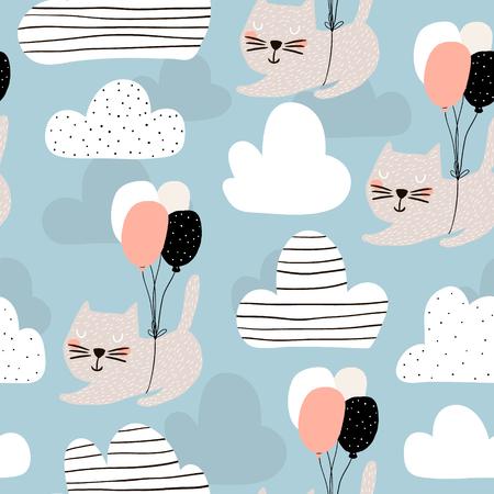 Modello infantile senza cuciture con i gatti svegli che volano con il pallone. Sfondo vivaio creativo. Perfetto per i bambini design, tessuto, involucro, carta da parati, tessile, abbigliamento Archivio Fotografico - 87952649