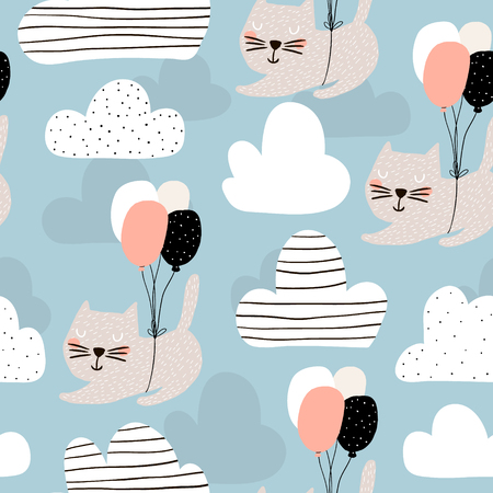 Seamless childish pattern with cute cats flying with balloon. Creative nursery background. Perfect for kids design, fabric, wrapping, wallpaper, textile, apparel