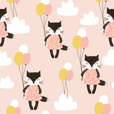 Seamless childish pattern with cute cats, air balloon, and clouds. Creative nursery background. Perfect for kids design, fabric, wrapping, wallpaper, textile, apparel