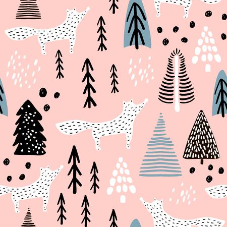 폭스, 트리 및 잉크 그려진 된 요소와 원활한 겨울 패턴. 크리 에이 티브 크리스마스 배경입니다. 벡터 일러스트 레이션 일러스트