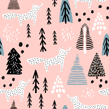Seamless winter pattern with fox, tree, and ink drawn elements. Creative christmas background. Vector Illustration Vettoriali