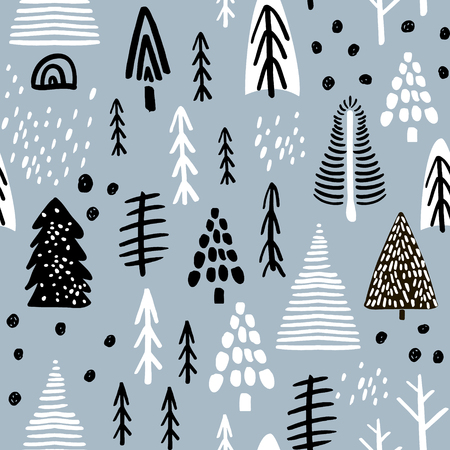 Seamless pattern with winter wood, trees, and ink drawn elements. Creative christmas background. Vector Illustration