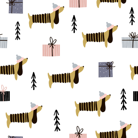 Nahtloses Muster mit Dachshunds und Geschenkboxen. Kreativer Weihnachtshintergrund. Vektor-Illustration