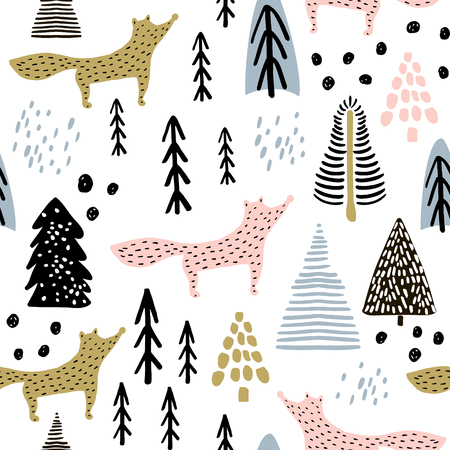 Seamless winter pattern with fox, tree, and ink drawn elements. Creative christmas background. Vector Illustration Illustration