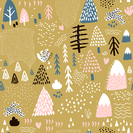Seamless pattern with bunny forest elements and hand drawn shapes. Childish texture. Great for fabric, textile Vector Illustration