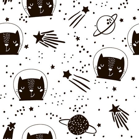 かわいい猫の宇宙飛行士とのシームレスな幼稚なパターン。創造的な保育所の背景。キッズ デザイン、ファブリック、包装、壁紙、テキスタイル、
