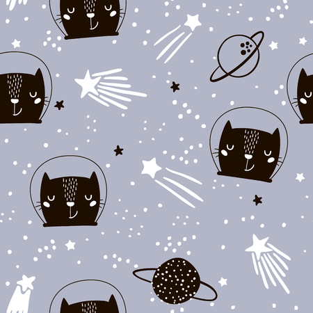 Seamless childish pattern with cute cats astronauts. Creative nursery background. Perfect for kids design, fabric, wrapping, wallpaper, textile, apparel