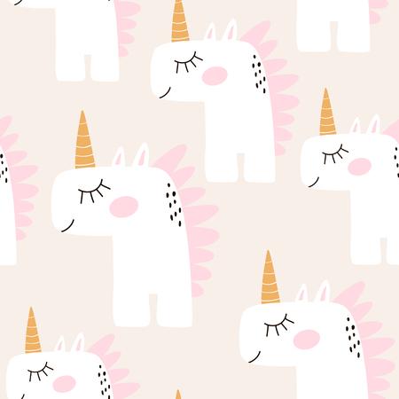 妖精ユニコーンとかわいいシームレス パターン。幼稚なテクスチャ、生地繊維。北欧スタイル。ベクトル図