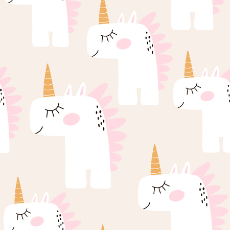 Cute seamless pattern with fairy unicorns. Childish texture for fabric, textile. Scandinavian style. Vector Illustration Ilustração