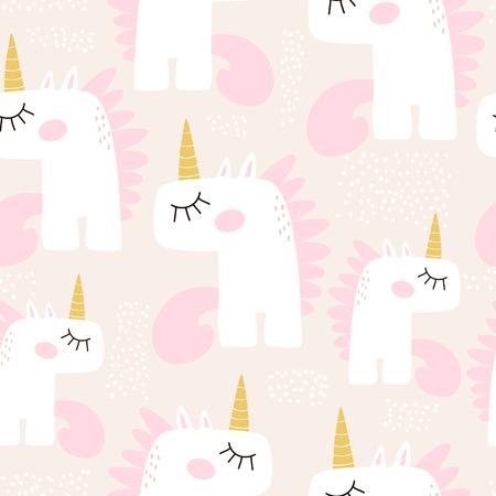 Cute seamless pattern with fairy unicorns. Childish texture for fabric, textile. Scandinavian style. Vector Illustration Illustration