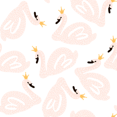 白鳥の王女とのシームレスな幼稚なパターン。創造的な保育所の背景。キッズ デザイン、ファブリック、包装、壁紙、テキスタイル、アパレルに最