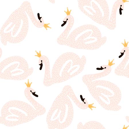 Patrones infantiles sin fisuras con princesa cisne. Fondo creativo de guardería. Perfecto para el diseño de los niños, tela, envoltura, papel pintado, textil, ropa Foto de archivo - 87952730