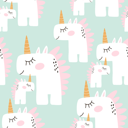 Cute seamless pattern with fairy unicorns. Childish texture for fabric, textile. Scandinavian style. Vector Illustration  イラスト・ベクター素材