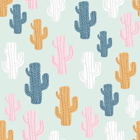 サボテンと手のシームレスなパターンは、テクスチャを描画します。生地に最適な繊維です。ベクトルの背景  イラスト・ベクター素材