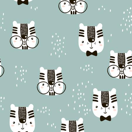 귀여운 손으로 그린 새끼 고양이 패턴.