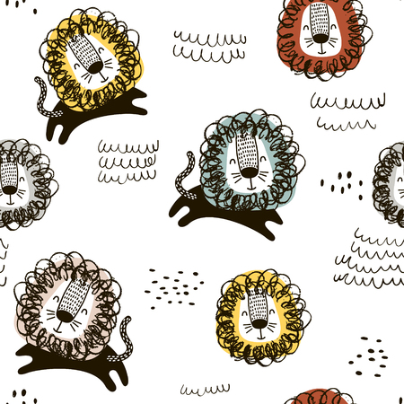 Lion drawing pattern.