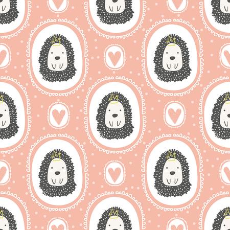 Cute hand drawn hedgehog pattern.